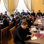 В работе Ученого совета принял участие Председатель Синодального отдела религиозного образования и катехизации Белорусской Православной Церкви епископ Борисовский и Марьиногорский Вениамин.
